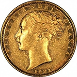 1881 Gold Sovereign Victoria Young Head Shield Sydney Mint 22598