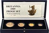 1989 Whole Coin Set Britannia - Four (4) Coins Gold Proof 22974