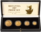 1987 Gold Proof Britannia Coin Set - 4 Coins 21592