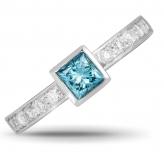 Platinum Blue Princess Cut Diamond Solitaire Ring  25442