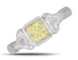 Platinum Yellow and White Diamond Three Stone Ring  23867
