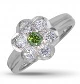 18ct White Gold Green & White Diamond Cluster Ring  11