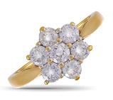 18ct Yellow Gold White Diamond Cluster Ring  21194