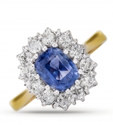 18ct Yellow Gold White Diamond & Sapphire Cluster Ring  66