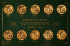 1957-1968 Gold Sovereign Elizabeth II Coin Set VF - 10 Coins 77