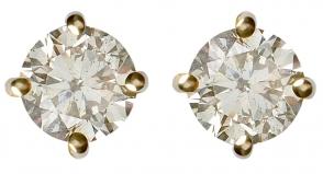 18ct Yellow Gold White Diamond Earrings 25452