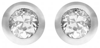 18ct White Gold White Diamond Earrings   25454