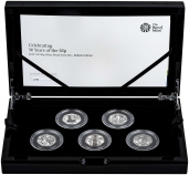2019 Silver Proof 50 Years of the 50p 5 Coin British Culture Set Presentation Box