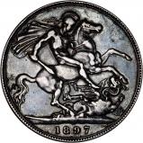 1897 Victoria Old Head Silver Crown Reverse