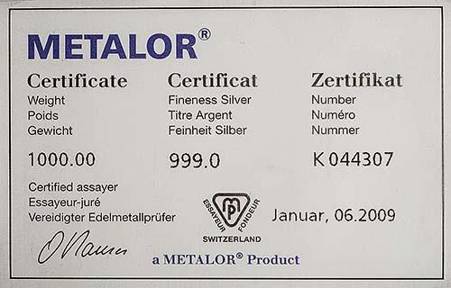 1 Kg Silver Bar Metalor Metalor w/ Cert Pre-Owned 22363