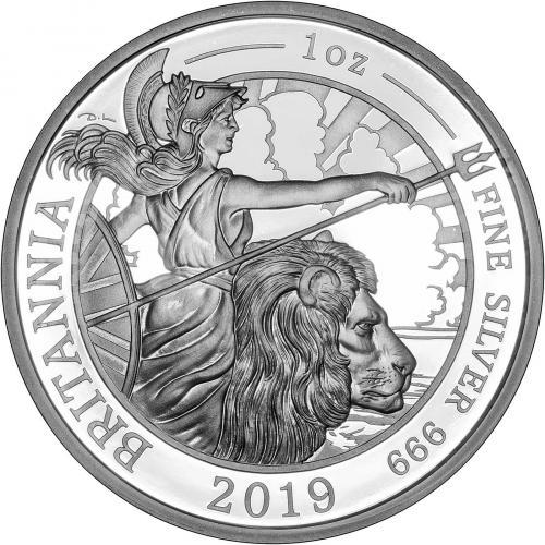 2019 1 oz Silver Proof Britannia Coin Reverse