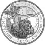 2019 1 oz Silver Proof Britannia Coin Reverse