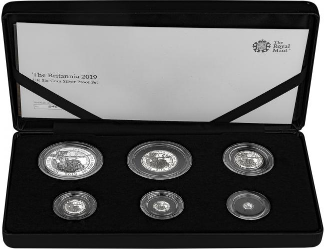 2019 6-Coin Silver Proof Britannia Set Presentation Box