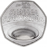2019 Stephen Hawking Silver Proof 50p Coin Reverse