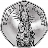 2019 UK Coin 50p BU Beatrix Potter - Peter Rabbit Reverse