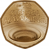 2019 Gold Proof Stephen Hawking 50p Reverse
