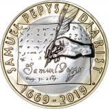 2019 £2 BU 350th Anniversary of Samuel Pepys' Diary Coin Reverse