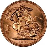 1981 Gold Sovereign Elizabeth II Reverse