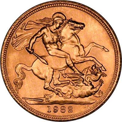 1982 Gold Sovereign Elizabeth II Reverse