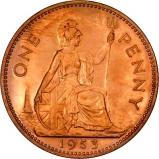1953 Copper Graded Elizabeth II Penny Revere