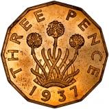 1937 George VI Brass Graded Threepence Reverse