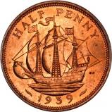 1939 George VI Copper Graded Halfpenny Reverse