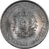 Reverse of 1972 Royal Silver Wedding Anniversary Crown