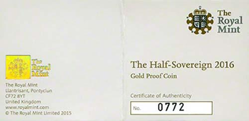 2016 Gold Half Sovereign Elizabeth II Proof 23342