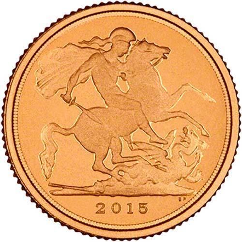 2015 Gold Quarter Sovereign Elizabeth II Proof Reverse