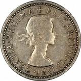 1959 Elizabeth II Sixpence Obverse