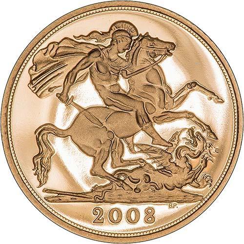 2008 Gold Half Sovereign Elizabeth II Proof Reverse