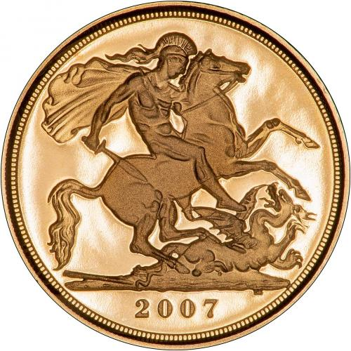 2007 Gold Half Sovereign Elizabeth II Proof Reverse