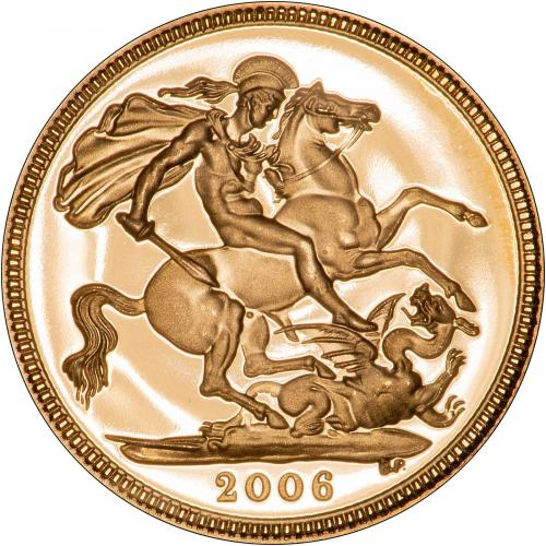 2006 Gold Half Sovereign Elizabeth II Proof Reverse