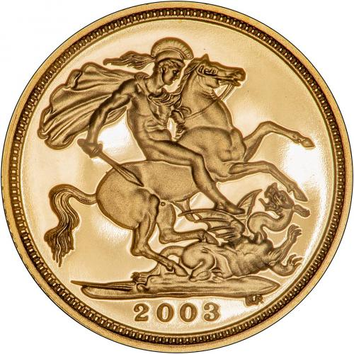 2003 Gold Half Sovereign Elizabeth II Proof Reverse