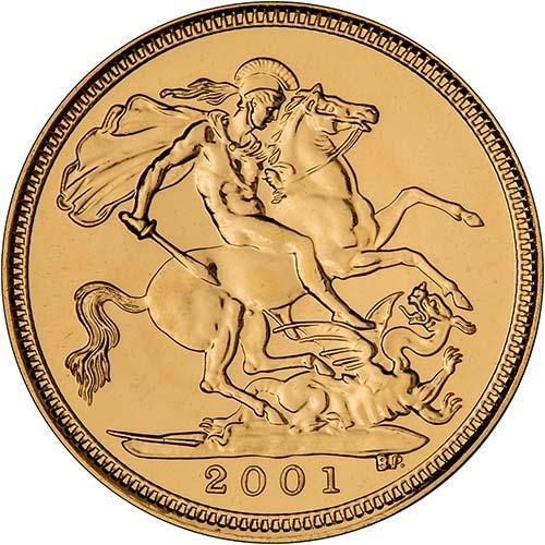 2001 Gold Half Sovereign Elizabeth II Bullion Reverse