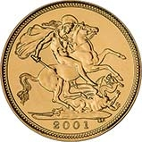 2001 Gold Half Sovereign Elizabeth II Bullion Reverse