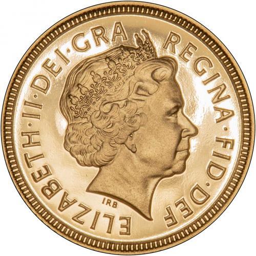 2001 Gold Half Sovereign Elizabeth II Proof Obverse