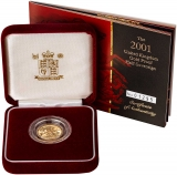 2001 Gold Half Sovereign Elizabeth II Proof Presentation Box