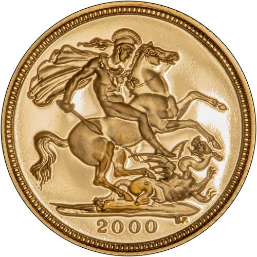 2000 Gold Half Sovereign Elizabeth II Proof Reverse