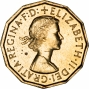 Obverse of Elizabeth II Brass Threepence Ordinary Circulation Mixed Dates