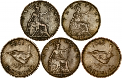 Reverses of Ordinary Circulation Copper Farthing Mixed Dates