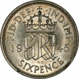 GRI Reverse of Pre-1947 Silver Sixpence Ordinary Circulation