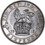 Lion and Crown Reverse on Pre-1920 Silver Sixpence Ordinary Circulation